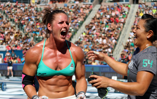 Stacie Tovar celebrates at 2016 CrossFit Games